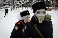 RUSSIA, Moscow, 02.2011. ©  Sergey Kozmin/EST&OST.The Moscow Girls Cadet Boarding School. Sometimes training gas alerts are announced and the cadets put on gas masks.