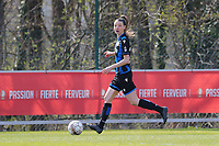 Nicky Van Den Abbeele (28) of Club Brugge pictured during a female soccer game between Standard Femina de Liege and Club Brugge YLA on the 2nd matchday in play off 1 of the 2020 - 2021 season of Belgian Scooore Womens Super League , saturday 17 th of April 2021  in Angleur , Belgium . PHOTO SPORTPIX.BE | SPP | SEVIL OKTEM