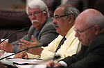 Special Masters, from left, Bob Erickson, Tom Sheets and Alan Glover work in a redistricting hearing at the Legislature in Carson City, NV. on Tuesday, Oct. 11, 2011..Photo by Cathleen Allison