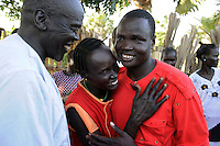 Joseph Gatyoung Khan is reunited with family members. Joseph is a Lost Boy. He was among the thousands who fled Sudan during the civil war, and after living in the United States, he is returning for the first time in 22 years. Many Sudanese are returning home, mainly to participate in the upcoming referendum in January 2011 when South Sudan will vote on its independence..