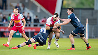 4th June 2021; AJ Bell Stadium, Salford, Lancashire, England; English Premiership Rugby, Sale Sharks versus Harlequins;  Elia Elia of Harlequins is tackled by Jean-Luc du Preez and  Ben Curry of Sale Sharks