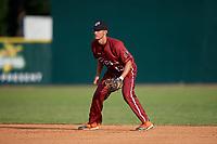 Macon Bacon second baseman Trevor Austin (43) during a Coastal Plain League game against the Savannah Bananas on July 15, 2020 at Grayson Stadium in Savannah, Georgia.  (Mike Janes/Four Seam Images)
