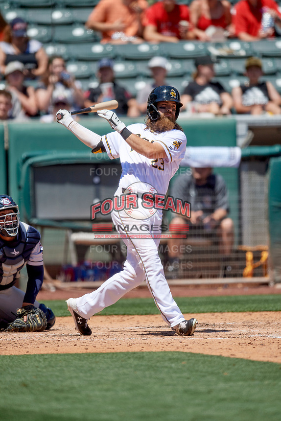 Brandon Marsh (23) of the Salt Lake Bees at bat against the Round Rock Express at Smith's Ballpark on May 31, 2021 in Salt Lake City, Utah. The Express defeated the Bees 8-6. (Stephen Smith/Four Seam Images)