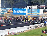 Sep 16, 2018; Mohnton, PA, USA; NHRA top fuel driver Dom Lagana (left) alongside Scott Palmer during the Dodge Nationals at Maple Grove Raceway. Mandatory Credit: Mark J. Rebilas-USA TODAY Sports