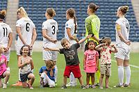 Bridgeview, IL - Sunday August 20, 2017: FC Kansas City Starting XI, player escorts during a regular season National Women's Soccer League (NWSL) match between the Chicago Red Stars and FC Kansas City at Toyota Park. KC Kansas City won 3-1.