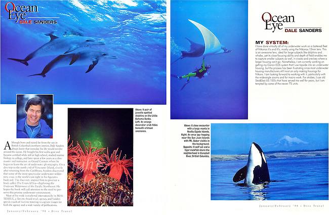 """Inside three page """"Ocean Eye"""" feature in DIVE TRAVEL Magazine."""
