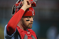 OAKLAND, CA - AUGUST 3:  Matt Wieters #32 of the St. Louis Cardinals takes his mask off against the Oakland Athletics during the game at the Oakland Coliseum on Saturday, August 3, 2019 in Oakland, California. (Photo by Brad Mangin)