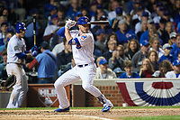 Chicago Cubs Kris Bryant (17) bats in the fourth inning during Game 3 of the Major League Baseball World Series against the Cleveland Indians on October 28, 2016 at Wrigley Field in Chicago, Illinois.  (Mike Janes/Four Seam Images)