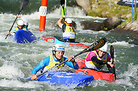 5th September 2021; Parc Olimpic del Segre, La Seu D'Urgell ICF Slalom World Cup, Women's  Extreme Slalom Final;  winner Satkova (CZE) , Luuka Jones (NZL) , Ana Satila (BRA) and Trompeterc (GER)