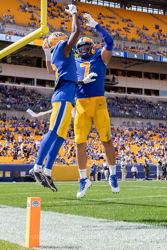 Pitt tight end Lucas Krull (7) and wide receiver Jordan Addison celebrate an Addison touchdown. The Pitt Panthers defeated the New Hampshire Wildcats 77-7 at Heinz Field, Pittsburgh, Pennsylvania on September 25, 2021.