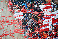 Bridgeview, IL - Saturday April 14, 2018: Chicago Fire fans during a regular season Major League Soccer (MLS) match between the Chicago Fire and the LA Galaxy at Toyota Park.  The LA Galaxy defeated the Chicago Fire by the score of 1-0.