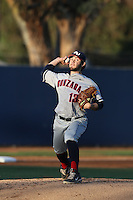 Brandon Bailey (13) of the Gonzaga Bulldogs pitches during a game against the Loyola Marymount Lions at Page Stadium on March 27, 2015 in Los Angeles, California. Loyola Marymount defeated Gonzaga 6-5.(Larry Goren/Four Seam Images)
