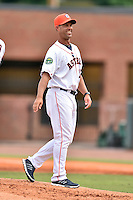 Greeneville Astros manager Josh Bonifay (17) walks off the mound during a game against the Kingsport Mets at Pioneer Park on July 3, 2016 in Greeneville, Tennessee. The Mets defeated the Astros 11-0. (Tony Farlow/Four Seam Images)