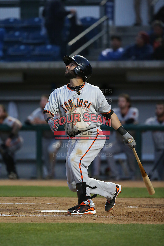 C.J. Hinojosa (2) of the San Jose Giants bats against the Rancho Cucamonga Quakes at LoanMart Field on May 23, 2016 in Rancho Cucamonga, California. San Jose defeated Rancho Cucamonga, 4-2. (Larry Goren/Four Seam Images)