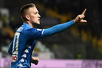Piotr Zielinski of Napoli celebrates after scoring the goal of 0-1 <br /> Parma 24-02-2019 Ennio Tardini <br /> Football Serie A 2018/2019 Parma - Napoli <br /> Foto Image Sport / Insidefoto