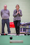 © Joel Goodman - 07973 332324 . 27/01/2014 . Manchester , UK . The Deputy Leader of the Labour Harriet Harman bowling in the gym at the launch of Mike Kane's campaign for the Wythenshawe East and Sale by-election at the Woodhouse Park Lifestyle Centre in Wythenshawe , today (27th January 2014) . Photo credit : Joel Goodman