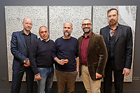 "Pictured L-R: Art dealer Peter Bernaerts, exhibition curator Stavros Kavallaris, Academic Director for Benaki Museum Georgis Manginis, artist Stefanos Rokos and musician Jim Sclavunos. Wednesday 03 April 2019<br /> Re: Press call before the opening of Stefanos Rokos' exhibition ""No More Shall We Part"" with paintings based on the 2001 Nick Cave and The Bad Seeds album with the same title, Benaki Museum, Athens, Greece."