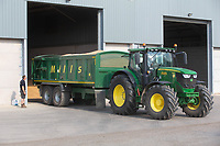 10-8-2021 Tractor and trailer carting grain into a store <br /> ©Tim Scrivener Photographer 07850 303986<br />      ....Covering Agriculture In The UK....