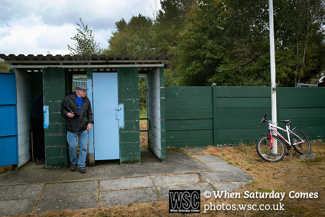 Nelson 3 Daisy Hill 6, 12/10/2019. Victoria Park, North West Counties League, First Division North. A spectator entering the ground via the turnstiles before Nelson hosted Daisy Hill at Victoria Park. Founded in 1881, the home club were members of the Football League from 1921-31 and has played at their current ground, known as Little Wembley, since 1971. The visitors won this fixture 6-3, watched by an attendance of 78. Photo by Colin McPherson.
