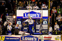 Jimmie Johnson, driver of the #48 Lowe's Chevrolet, during the NASCAR Sprint Cup Series Bank of America 500 at Charlotte Motor Speedway in Concord, North Carolina.