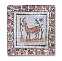 3rd century AD Roman mosaic depiction of two deer between two shrubs. Thysdrus (El Jem), Tunisia.  The Bardo Museum, Tunis, Tunisia. White background