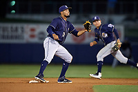 San Antonio Missions shortstop Jose Rondon (13) waits to receive a throw during a game against the Tulsa Drillers on June 1, 2017 at ONEOK Field in Tulsa, Oklahoma.  Tulsa defeated San Antonio 5-4 in eleven innings.  (Mike Janes/Four Seam Images)