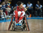 MISSISSAUGA, ON, AUGUST 12, 2015. Wheelchair Rugby - Canada vs USA in preliminary action. USA won the game 60-59 in double overtime - Trevor Hirschfield<br /> Photo: Dan Galbraith/Canadian Paralympic Committee
