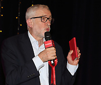 Labour Party Leader Jeremy Corbyn delivers a speech on the final day of general election campaigning at Addison Howard Centre, Kempston, Bedford, UK on 11th December 2019. <br /> <br /> Photo by Keith Mayhew