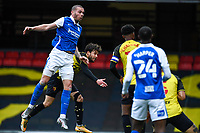 20th March 2021; Vicarage Road, Watford, Hertfordshire, England; English Football League Championship Football, Watford versus Birmingham City; Harlee Dean with a header but it goes just over the bar.