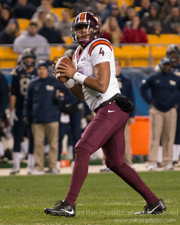 Virginia Tech quarterback Jerod Evans. The Virginia Tech Hokies defeated the Pitt Panthers 39-36 on October 27, 2016 at Heinz Field in Pittsburgh, Pennsylvania.