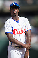 Livan Moinelo Pita (89) of the Cuban National Team prior to the start of the game against the US Collegiate National Team at BB&T BallPark on July 4, 2015 in Charlotte, North Carolina.  The United State Collegiate National Team defeated the Cuban National Team 11-1.  (Brian Westerholt/Four Seam Images)