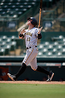 Pittsburgh Pirates Wyatt Mathisen (10) follows through on a swing during an Instructional League game against the Baltimore Orioles on September 27, 2017 at Ed Smith Stadium in Sarasota, Florida.  (Mike Janes/Four Seam Images)