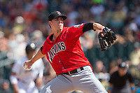 Indianapolis Indians relief pitcher Trey Haley (12) in action against the Charlotte Knights at BB&T BallPark on June 19, 2016 in Charlotte, North Carolina.  The Indians defeated the Knights 6-3.  (Brian Westerholt/Four Seam Images)