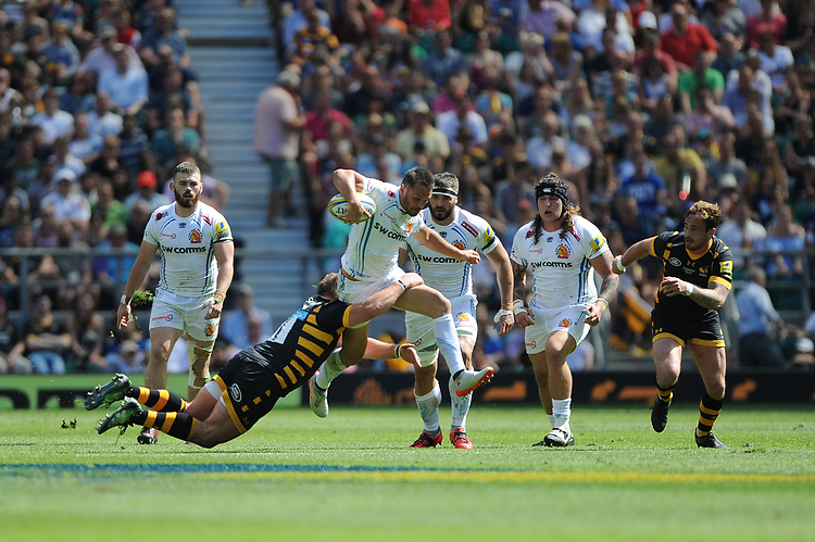 Phil Dollman of Exeter Chiefs in full flight during the Premiership Rugby Final at Twickenham Stadium on Saturday 27th May 2017 (Photo by Rob Munro)