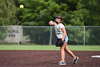 "Khila Branson, 9, of Bentonville practices her pitch, Sunday, September 13, 2020 at the Memorial Park ball field in Bentonville. Branson started playing softball at six-years-old after her father, who played baseball, encouraged her to get into the sport. ""I like to pitch strikes. It makes me feel good,"" she said. ""My team cheers for me. I love softball. It's my favorite sport."" Check out nwaonline.com/200914Daily/ for today's photo gallery. <br /> (NWA Democrat-Gazette/Charlie Kaijo)"