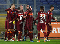 Football, Serie A: AS Roma - Sampdoria calcio, Olympic stadium, Rome, January 3, 2021. <br /> Roma's captain Edin Dzeko (l) celebrates after scoring with his teammates during the Italian Serie A football match between Roma and Sampdoria at Rome's Olympic stadium, on January 3, 2021.  <br /> UPDATE IMAGES PRESS/Isabella Bonotto