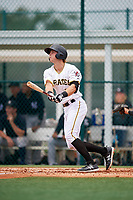 GCL Pirates first baseman Nick Patten (17) flies out during the second game of a doubleheader against the GCL Yankees East on July 31, 2018 at Pirate City Complex in Bradenton, Florida.  GCL Pirates defeated GCL Yankees East 12-4.  (Mike Janes/Four Seam Images)
