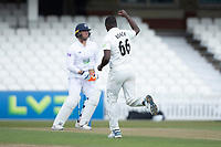 Abbott becomes Kemar Roach, Surrey CCC sixth victim during Surrey CCC vs Hampshire CCC, LV Insurance County Championship Group 2 Cricket at the Kia Oval on 1st May 2021