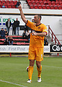 MOTHERWELL'S MICHAEL HIGDON  CELEBRATES AFTER HE SCORES MOTHERWELL'S FOURTH GOAL