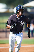 GCL Yankees East left fielder Edel Luaces (47) runs to first during a game against the GCL Yankees West on August 3, 2016 at the Yankees Complex in Tampa, Florida.  GCL Yankees East defeated GCL Yankees West 12-2.  (Mike Janes/Four Seam Images)