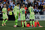 FC Barcelona's (L-R) Ivan Rakitic, Gerard Pique, Jordi Alba and Samuel Umtiti have words with the referee during La Liga match between CD Leganes and FC Barcelona at Butarque Stadium in Madrid, Spain. September 26, 2018. (ALTERPHOTOS/A. Perez Meca)