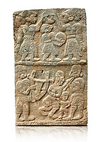 Pictures & images of the North Gate Hittite sculpture stele depicting musicians playing instruments. 8the century BC.  Karatepe Aslantas Open-Air Museum (Karatepe-Aslantaş Açık Hava Müzesi), Osmaniye Province, Turkey. Against white background