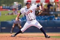David Francis #16 of the Rome Braves in action against the Greenville Drive at State Mutual Stadium July 25, 2010, in Rome, Georgia.  Photo by Brian Westerholt / Four Seam Images