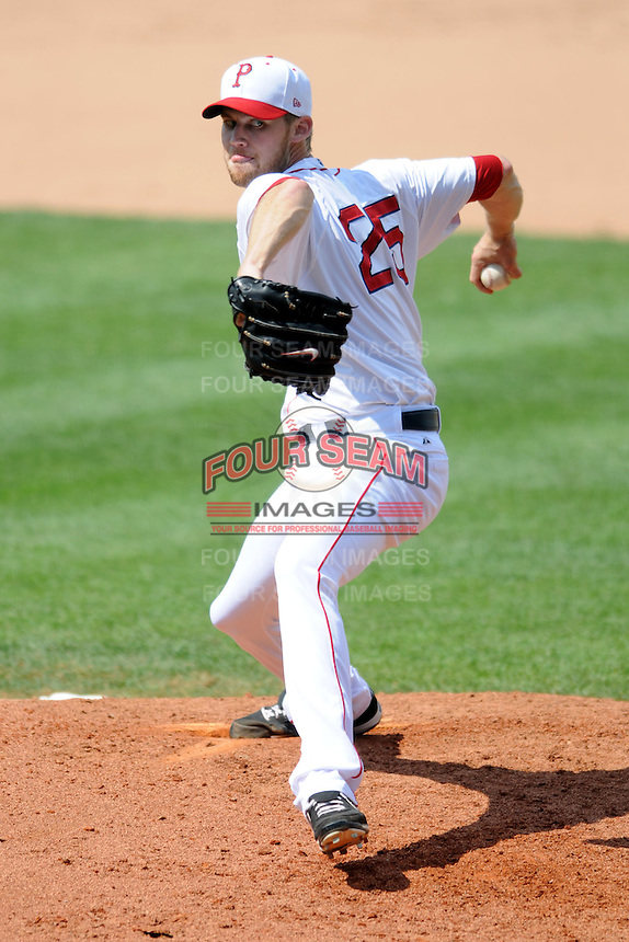 Pawtucket Red Sox pitcher Daniel Bard #25 during a game versus the Syracuse Chiefs at McCoy Stadium in Pawtucket, Rhode Island on July 8, 2012.  (Ken Babbitt/Four Seam Images)