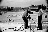 MONTREAL, CANADA - File Photo - Renovation and maintenance of TERRE DES HOMMES : site of Expo 67, in the seventies.<br /> <br /> <br /> File Photo : Agence Quebec Presse - Alain Renaud