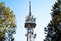Milano, antenna della RAI, Radio Televisione Italiana, in corso Sempione. Rai Way --- Milan, antenna of RAI, Italian Radio Television, in Sempione avenue