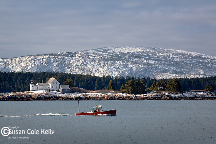 A lobster boat works the waters around Winter Harbor Light near the cliffs at Acadia National Park, ME, USA