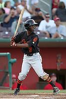 San Jose Giants third baseman Juan Ciriaco #7 bats against the Inland Empire 66'ers at Arrowhead Credit Union Park on July 31, 2011 in San Bernardino,California. San Jose defeated Inland Empire 6-3.(Larry Goren/Four Seam Images)