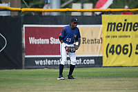 Missoula Osprey left fielder Jesus Munoz (23) during a Pioneer League game against the Orem Owlz at Ogren Park Allegiance Field on August 19, 2018 in Missoula, Montana. The Missoula Osprey defeated the Orem Owlz by a score of 8-0. (Zachary Lucy/Four Seam Images)