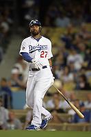 Los Angeles Dodgers outfielder Matt Kemp #27 bats against the Arizona Diamondbacks at Dodger Stadium on September 13, 2011 in Los Angeles,California. Arizona defeated Los Angeles 5-4.(Larry Goren/Four Seam Images)